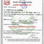 Company Registrar Certificate of Community Trek