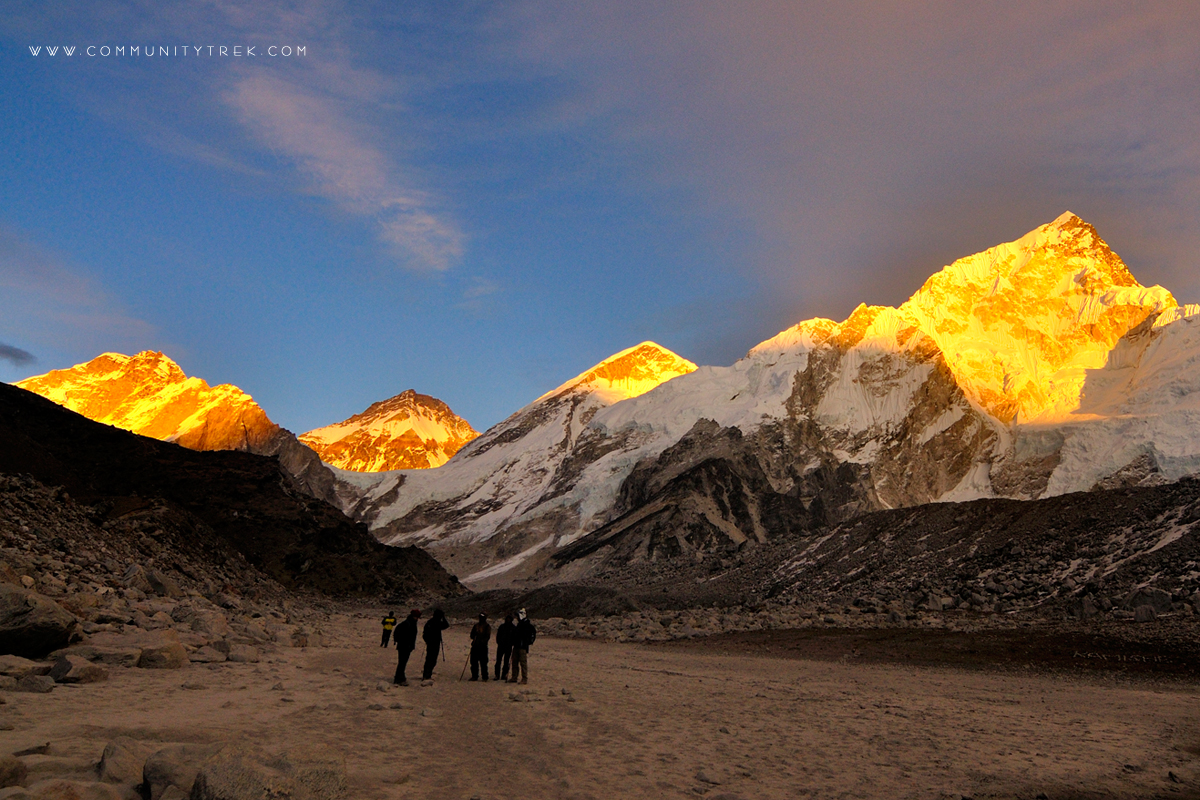 Stunning view of sunset on the Everest Himalayan range, Everest Photography Trek