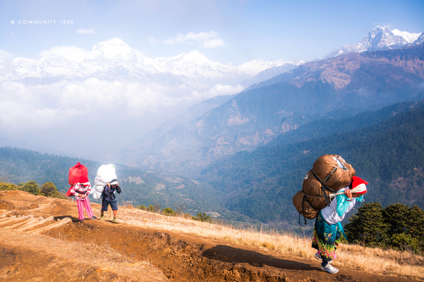 Strong Trekking Porters in Annapurna